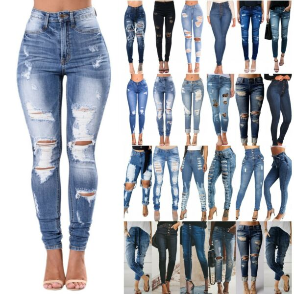 Women's High Waist Skinny Denim Jeans Pants Ripped Stretchy Jeggings Trousers US