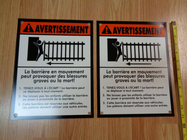 mighty mule automatic gate opener French WARNING ! SIGN - Moving Gate Keep Clear $8.50