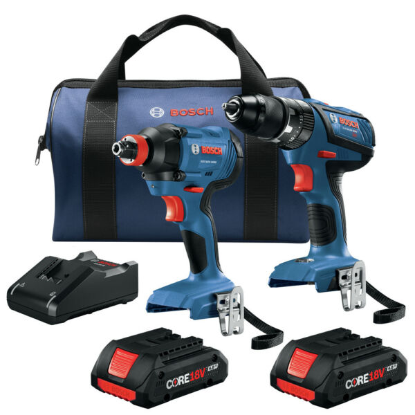 Bosch GXL18V-239B25-RT 18V 2-Tool Combo Kit w (2) 4 Ah Batteries Reconditioned