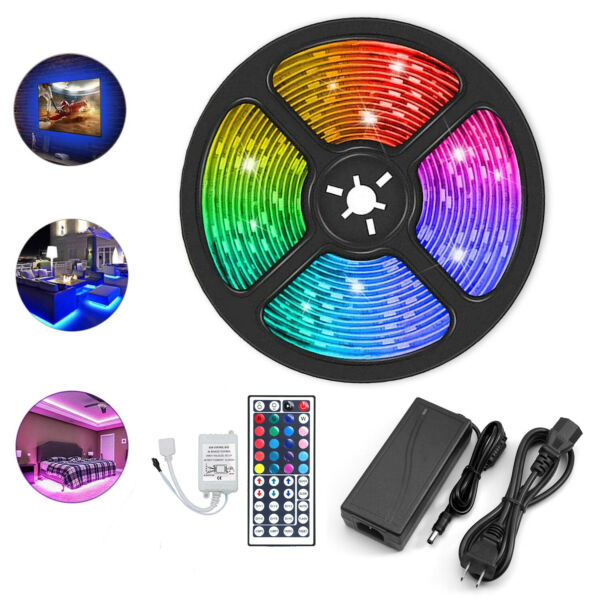 5M 5050 RGB 300 Led SMD Flexible Light Strip Lamp/44 key IR/12V 5A Power Supply
