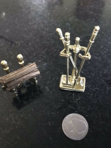 Dollhouse Miniature Gold Fireplace Andirons with Bar for Wood Metal 1:12 Scale