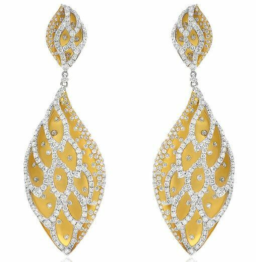 ESTATE 7.10CT DIAMOND 18KT 2 TONE GOLD 3D MULTI LEAF TEAR DROP HANGING EARRINGS