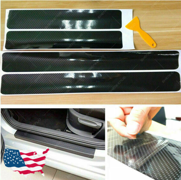 4x Carbon Fiber Car Door Plate Sill Scuff Cover Anti Scratch Sticker Accessories $7.69