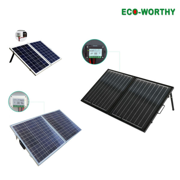 50W 100W 120W Folding Foldable 12V Solar Panel Kit Suitcase Camp Caravan Charge