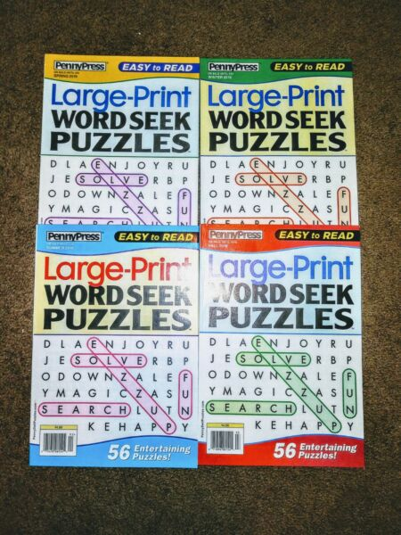 Lot of 4 Large Print Word Search~Word Find~Word Hunt Books Vol. 73-74-75-76