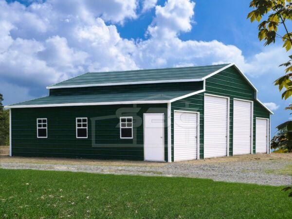 Metal Barn Steel Building Shop 4 Car Garage Barn with Lean-tos 44x31 FREE SET-UP
