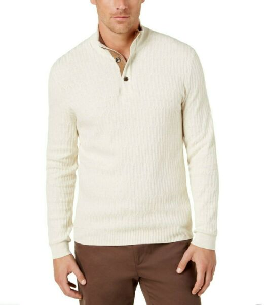NWT - TASSO ELBA Men's 3 BUTTON Sesame Heather PULLOVER SWEATER - M