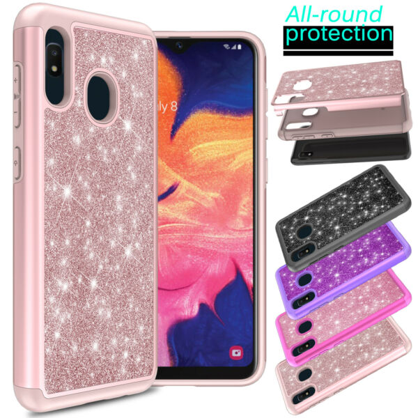 For Samsung Galaxy A10e A20 A11 A21 A51 A71 5G Case Armor Glitter Bling Cover