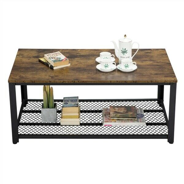 Industrial Accent Coffee Table with Storage Shelf Living Room Wood Rustic Brown
