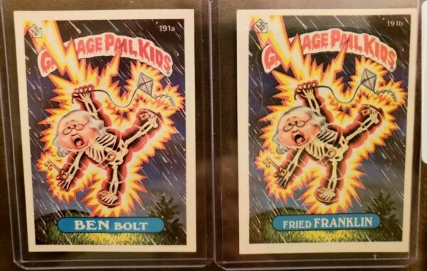*AUTH* 1986 Garbage Pail Kid Cards #191ab Ben BoltFried Franklin. *MINT CARDS*