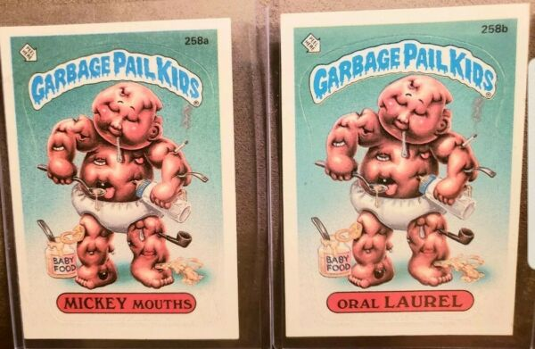 *AUTHENTIC* 1987 GARBAGE PAIL KID CARDS #258ab MICKEY MouthsOral LAUREL  ~MINT