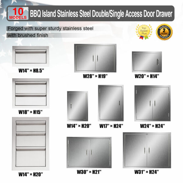 Multi size BBQ Double Single Doors Drawer Outdoor Kitchen Stainless Steel Access