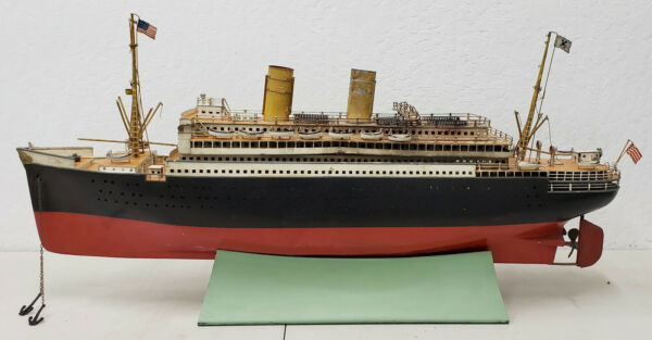 Rare Antique Marklin Ocean Liner with American Flags & Lifeboats c.1900