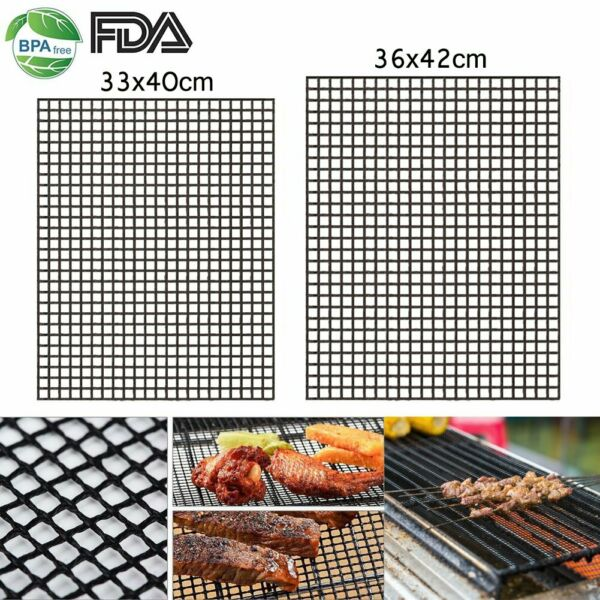 BBQ Grill Mesh Mat Non-Stick Barbecue Sheet Liners Teflon Cooking Grilling Mats