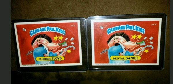 1986 Garbage Pail Kid Cards #200 a b Flouride FLOYD Dental DANIEL MINT AUTH