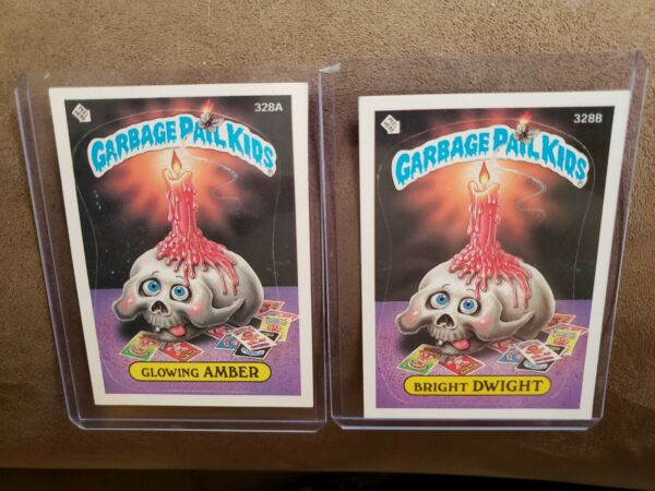 1987 Garbage Pail Kid Cards #328 A B Glowing AMBER amp; Bright DWIGHT. MINT CARDS