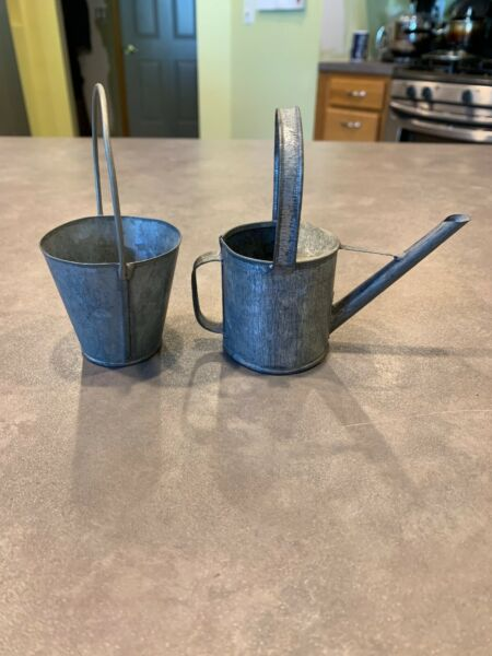 Mini Galvanized Metal Watering Can and Bucket Pail
