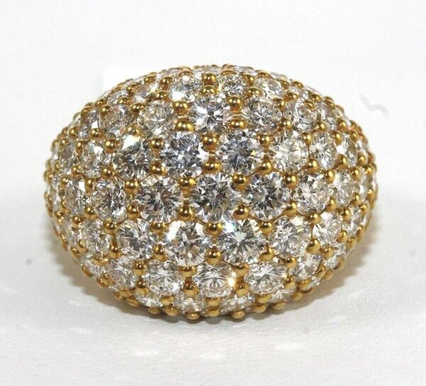 Round Diamond Cluster Cigar Wide Ring Band 18k Yellow Gold 5.25Ct