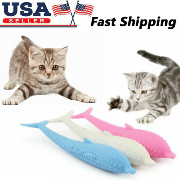 Interactive Pet Cat Fish Shape Toothbrush Pet Eco-Friendly Silicone Molar Stick