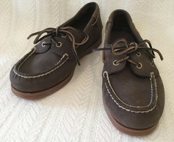 TIMBERLAND Boys Loafers Boat Shoes Brown Leather Lace Up Size 2 $24.99