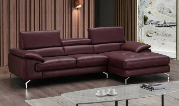 A973B Premium Leather Sectional Sofa in Maroon