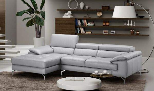 Liam Premium Leather Sectional Sofa in Element Grey