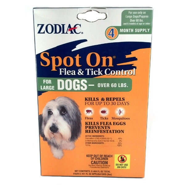 Zodiac Spot On for Large Dogs over 60 lbs flea and tick control 4 pack