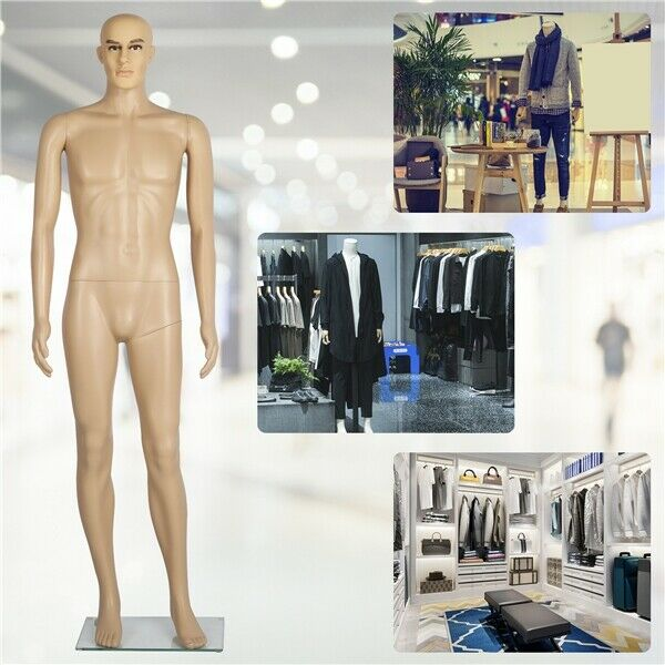 Male Mannequin Full Body PE Realistic Shop Display Head Turns Dress Form w Base