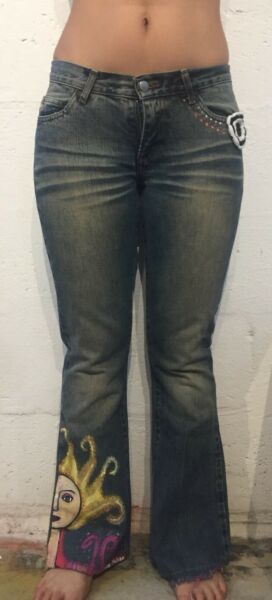 Miss Sixty Style Mid Low Tommy Size 26 Womens denim Jeans Painted By Artist $35.00