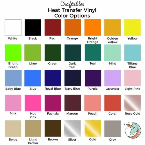 Craftables Heat Transfer Vinyl sheet Iron on HTV for Cricut Silhouette 12
