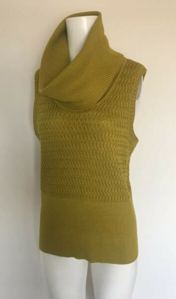 ST JOHN CABLE KNIT M SWEATER PULL OVER COWL NECK GOLD WOOL RAYON SLEEVELESS TOP