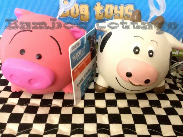 Multipet Ani-balls Animal Ball Latex Squeaker Dog Toy Cow Pig Set