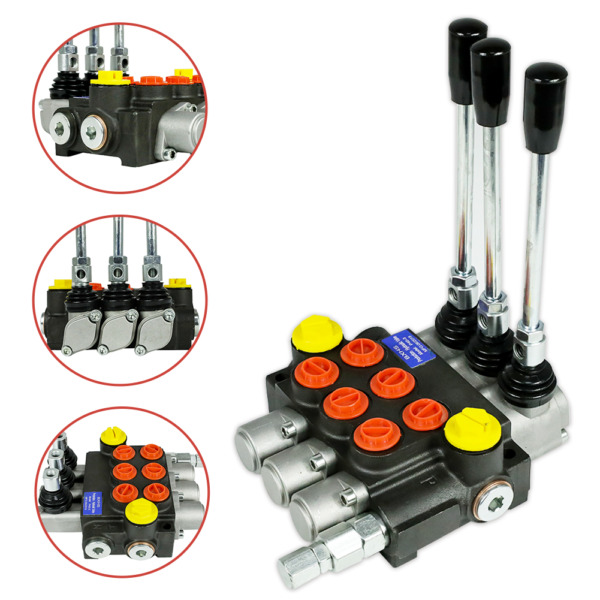 3 Spool Hydraulic Directional Control Valve 13gpm Adjustable Relief Valve in USA