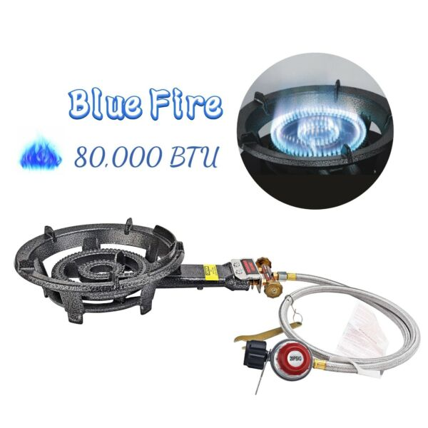 80000BTU Camping Propane Burner Stove Heavy Duty Cast Burner Portable Gas Stove