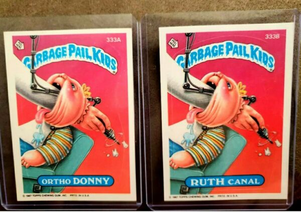 ☆AUTHENTIC ☆ 1987 Garbage Pail Kid Cards #333A&B Ortho DONNY & RUTH Canal ~MINT~