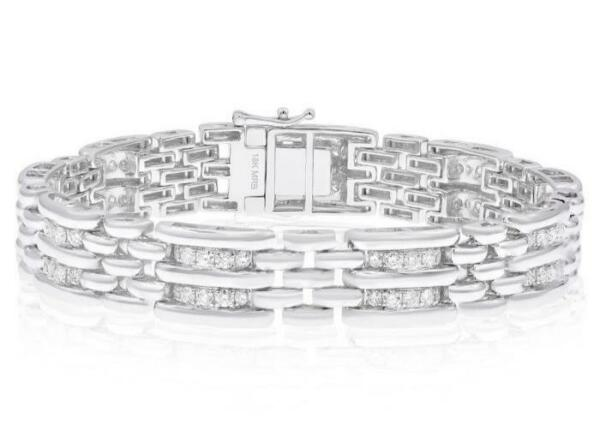 ESTATE WIDE 2.69CT DIAMOND 18KT WHITE GOLD 3D MULTI ROW PANTHER MENS BRACELET