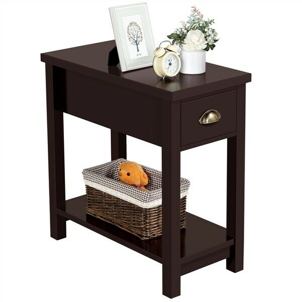 Small End Table Narrow Side Storage Wood Living Room Furniture Night Stand
