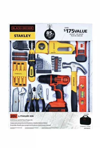 BLACK DECKER Tools 85pc Kit w DRILL 20V Project Set & Stanley Home Essentials