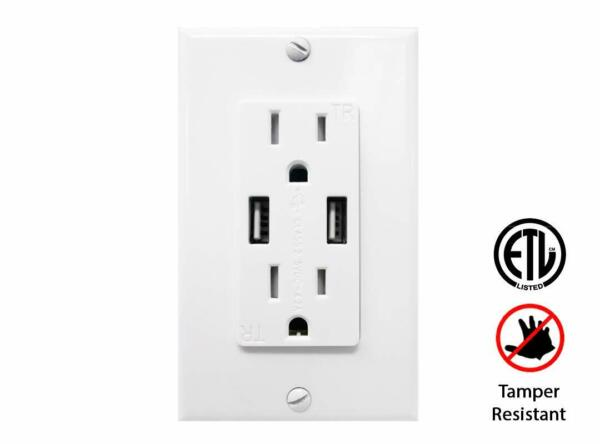 4.2A High Speed Dual USB Charging Electrical Outlet  Receptacle 15A TR Charger