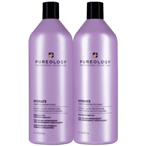 Pureology Hydrate Shampoo and Conditioner Liter Duo Set 33.8oz each NEW BOTTLES $90.24