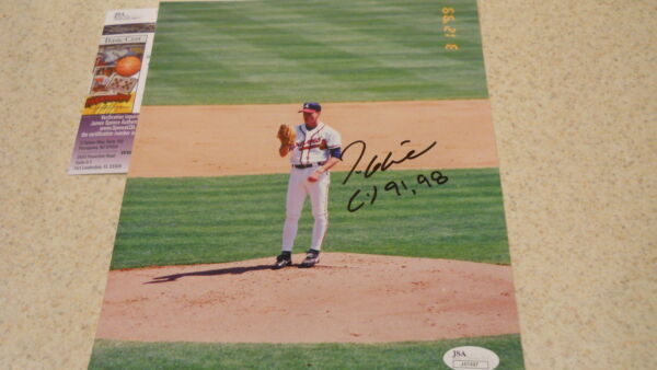 Tom Glavine HOF Atlanta Braves NY Mets signed CY 91 98  8 x 10 color photoJSA