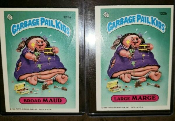 ☆AUTHENTIC☆ 1986 Garbage Pail Kid Cards #122 a&b~ Broad MAUD & Large MARGE ~MINT