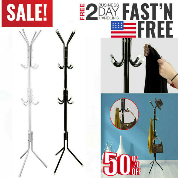 Metal Organizer Coat Rack Hat Bag Stand Tree Clothes Umbrella 12 Hooks 3-Tiers