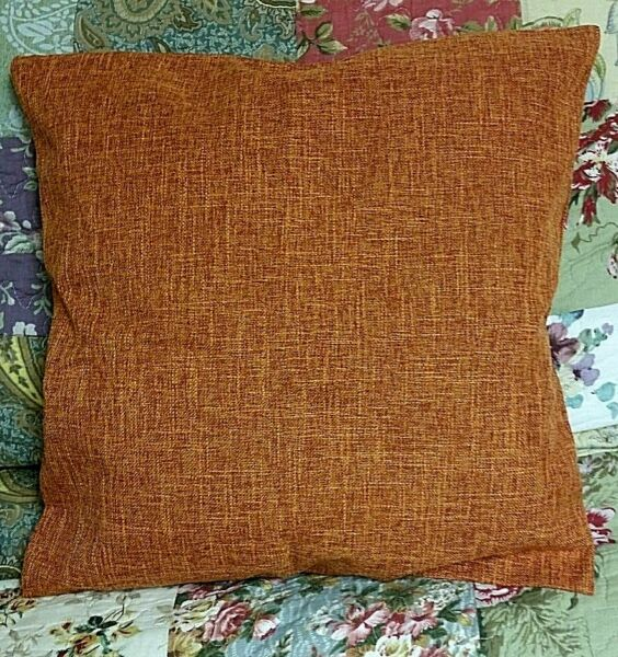 Orange Burlap Textured Fabric Accent Pillow Cover 17quot; Square Zipper Closure
