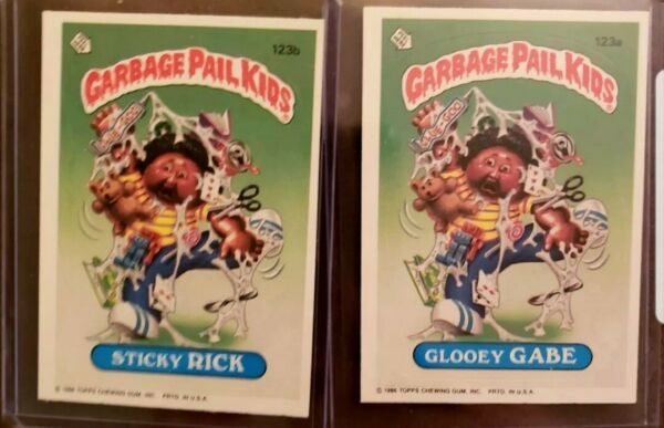 *AUTHENTIC* 1986 Garbage Pail Kid Cards #123ab- Glooey GABESticky RICK ~MINT!!