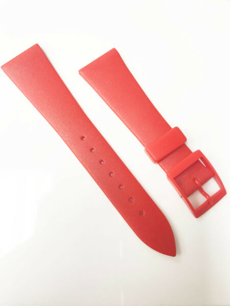 Genuine Red Material Smooth Rubber Plastic 20mm Red Buckle Watch Band $11.57