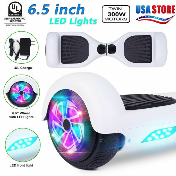 6.5'' Hoover board Two LED Flash Wheels Balance Electric Scooter Chrome US