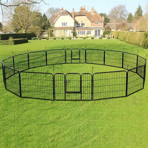 24 Inch Tall Dog Playpen Large Crate Fence Pet Play Pen Exercise Cage 16 Panels