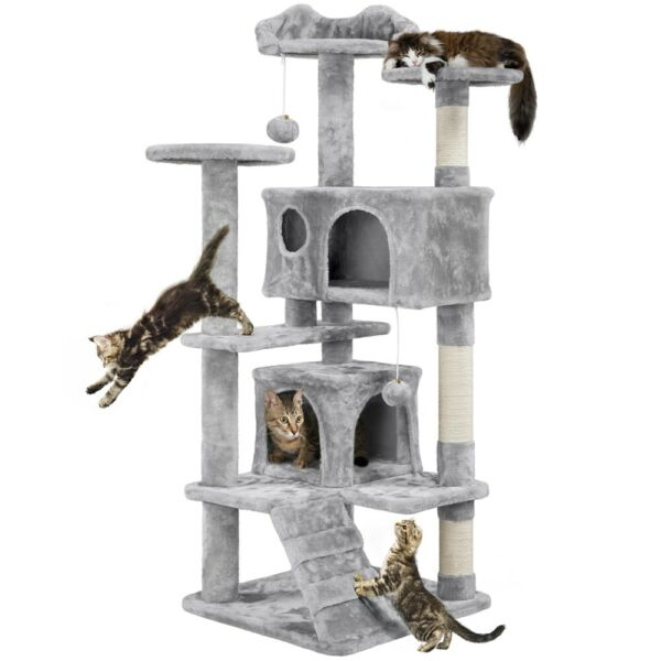 54quot; Cat Tree Tower Scratcher Post Play House Condo Furniture Pet House $53.99
