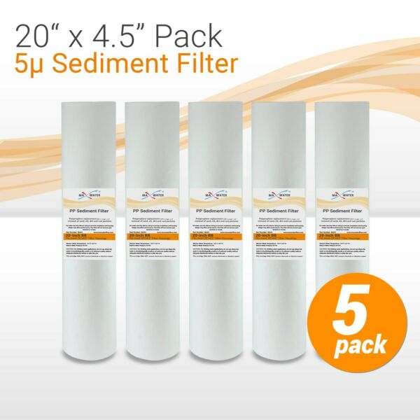 20quot; x 4.5quot; Big Blue Whole House 5 Micron Sediment Water Filter 5 Filters $54.15